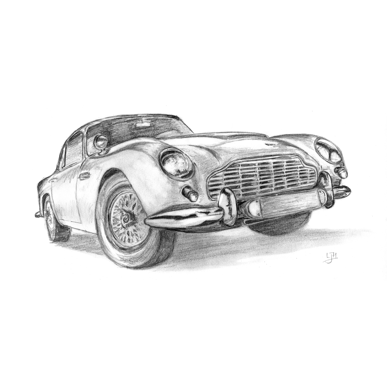 Aston Martin Sketch: Louise Hickman Artworks